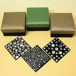 シェルコースター6枚セット(ケース付・スクエア)は、全4種類もあります!