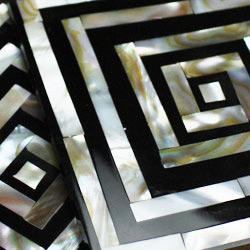 シェルコースター6枚セット(ケース付・スクエア)は、シェルの輝きが美しい!