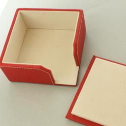 本革製コースター6枚セット(ケース付・角・レッド)のケース