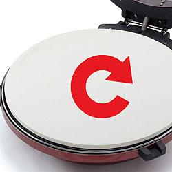 回転卓上石窯 ピザ&ロースター(タイマー付き)は、ゆっくり回転しながら焼き上げます。