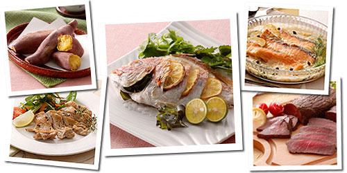 回転卓上石窯 ピザ&ロースター(タイマー付き)を使えば、ピザ以外にも焼き芋や焼き魚、パエリアなど多彩な料理が楽しめます。