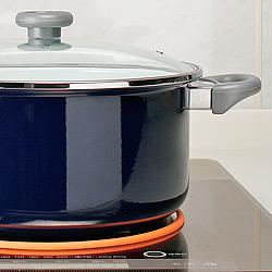 IHクッキングヒーターカバー すべり止めシリコンリング付き大きめの鍋でもしっかり安定します。