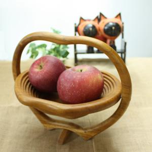 バリ・チーク製フルーツバスケット(アップル)オシャレに果物を保管♪