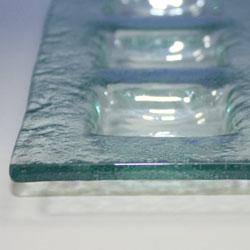 バリガラス製仕切りガラスプレート(三品皿)厚くしっかりとした作り