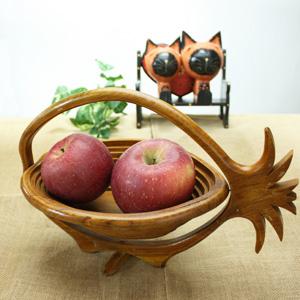 バリ・チーク製フルーツバスケット(パイナップル)オシャレに果物を保管♪