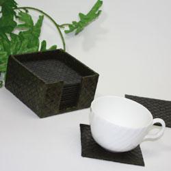 バリ・パンダン製コースター・グリーンオシャレなカフェを演出