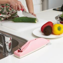 【日本製】ダイヤモンドシャプナー付き包丁差し(包丁研ぎ器)ピンクを置いているだけで、とってもオシャレ♪