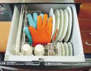 耐熱シリコン製・五本指クッキンググローブは食器洗い乾燥機の使用もOK!