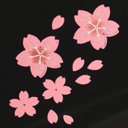 オードブル用お重 舞桜(黒)の桜柄