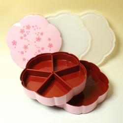 オードブル用お重 舞桜(ピンク)の全セット