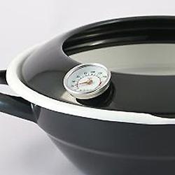 ホーロー天ぷら鍋(温度計付き)の安全なフード。