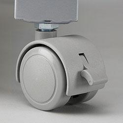 オーブン・電子レンジ用オープンラック(レンジ台)のキャスターは大型器用に強化&ウレタンコートで床にやさしい♪