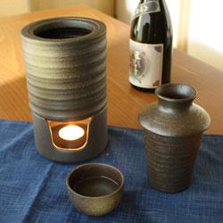 【日本製】日本酒・焼酎用 陶器製燗冷器3点セット うでぃ(徳利)