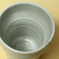【日本製】陶器製二重構造・キーポ焼酎カップ(粉引)