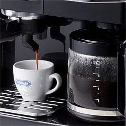 デロンギ エスプレッソ&ドリップコーヒーメーカーを使えば、ドリップコーヒーもエスプレッソも同時に抽出!