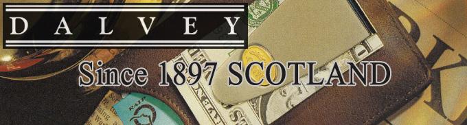 DALVEY カードケース&マネークリップ 黒 革製 ストライプ