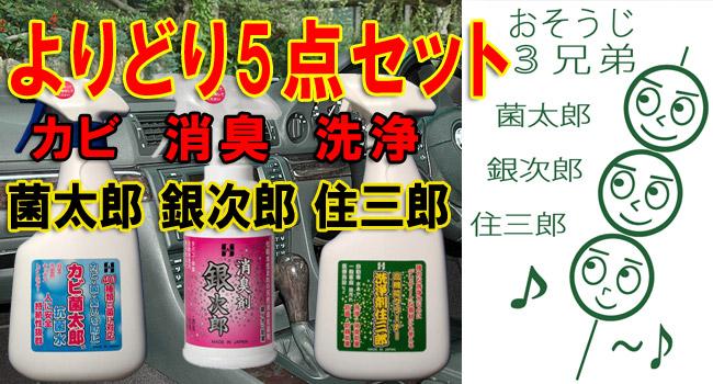 防カビ 消臭 スプレー アルカリイオン 洗浄剤 5本セット 雑巾 歯ブラシ 付 菌太郎 銀次郎 住三郎