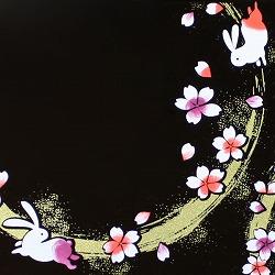 【日本製】和風 2段 お弁当箱・箸&ベルト付き(桜&うさぎ・黒)はデザインがとってもオシャレ♪
