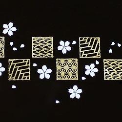 【日本製】和風 2段 お弁当箱・箸&ベルト付き(桜&市松・黒)はデザインがとってもオシャレ♪