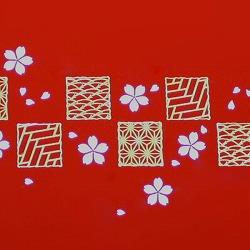 【日本製】和風 2段 お弁当箱・箸&ベルト付き(桜&市松・赤)はデザインがとってもオシャレ♪