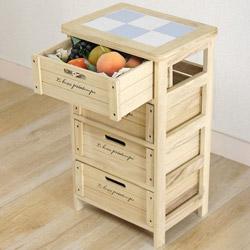 桐製・収納3段ボックス(チェスト)は、食材のストッカーにピッタリ!