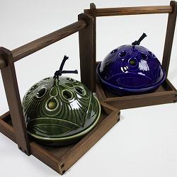 【日本製】お盆付き蚊遣り(蚊取り線香入れ)織部は、2種類から選べます。